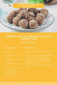 Fiche recette d'energy balls vegan aux amande, coco et noisettes.