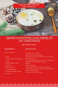 Fiche recette d'œufs cocottes aux cèpes et au chaource.