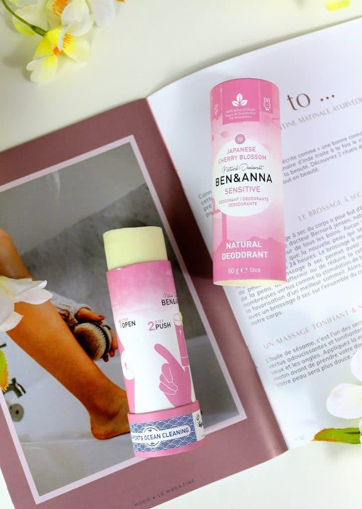 Déodorant naturel sensitive de chez Ben&Anna. Sans bicarbonate de soude, parfait pour les peaux sensibles. Découvert dans la Nuoobox.