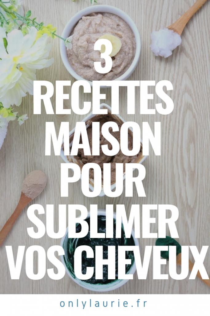 3 recettes maison pour sublimer vos cheveux. Des recettes faciles à faire avec des ingrédients de la cuisine.