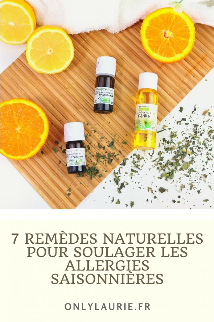7 remèdes naturelles pour soulager les allergies saisonnières, les rhumes des foins et les rhinites allergiques.