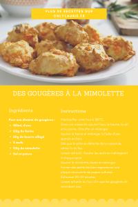 Fiche recette de gougères à la mimolette pour un apéro healthy.