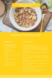 Fiche recette pour faire un granola croustillant maison. Une recette saine et gourmande pour le petit déjeuner.
