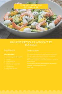 Fiche recette de salade estivale avocat et mangue. Healthy et rapide à faire.