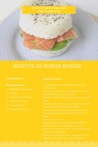 Fiche recette pour réaliser un sushis burger à base de riz saumon et avocat.