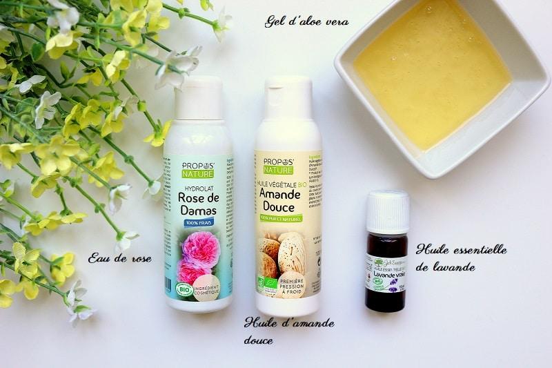 4 ingrédients pour faire son démaquillant maison. Une recette de cosmétique maison naturelle et facile à faire.