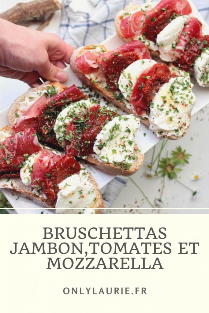 Recette de bruschettas jambon, tomates et mozzarella. Pour l'apéro ou en repas. Elles sont gourmandes et faciles à faire.