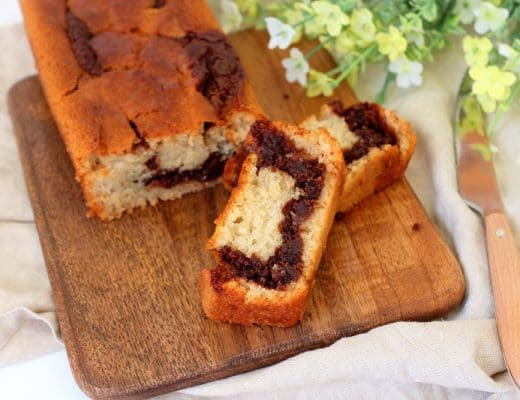 Cake marbré vegan à la pâte à tartiner. Healthy, rapide et facile à faire.