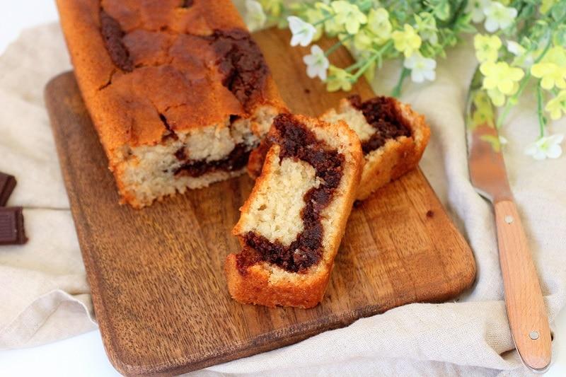 Recette de cake marbré vegan facile et rapide à faire. Une recette gourmande avec de la pâte à tartiner.