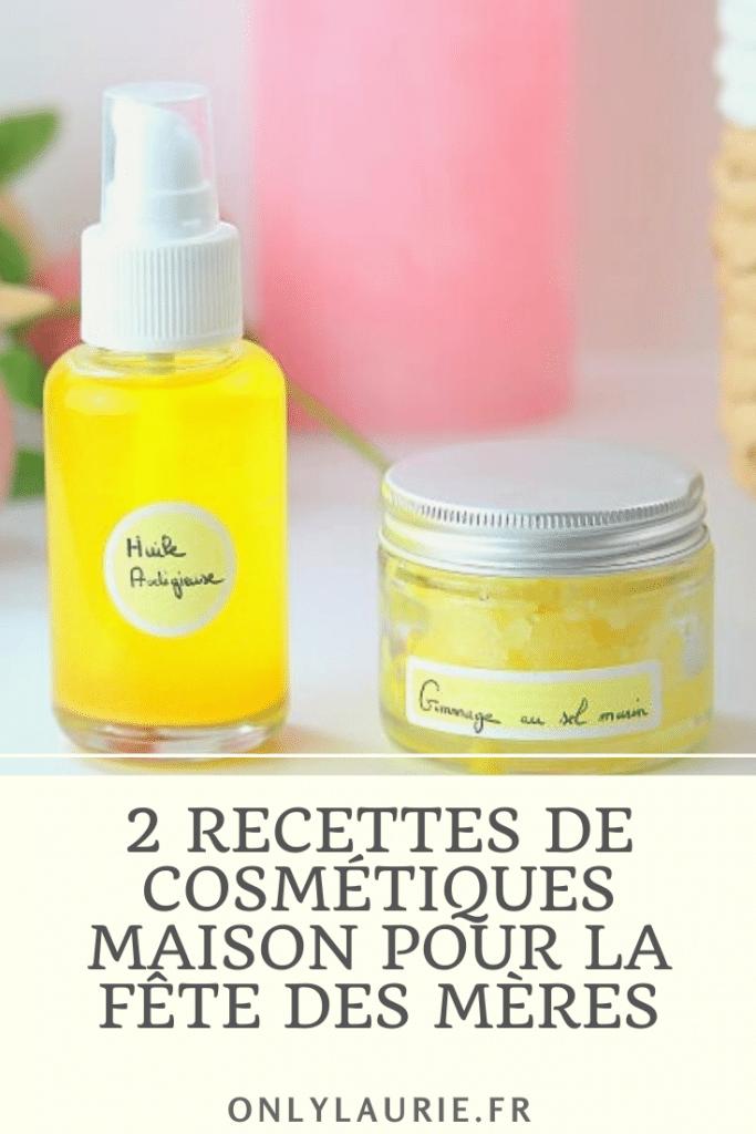Deux recettes de cosmétiques maison pour la fête des mères. Un gommage au sel et une huile prodigieuse. Des recettes naturelles rapides et faciles à faire.