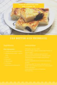 Fiche recette pour faire un far breton aux pruneaux. Spécialité bretonne gourmande.
