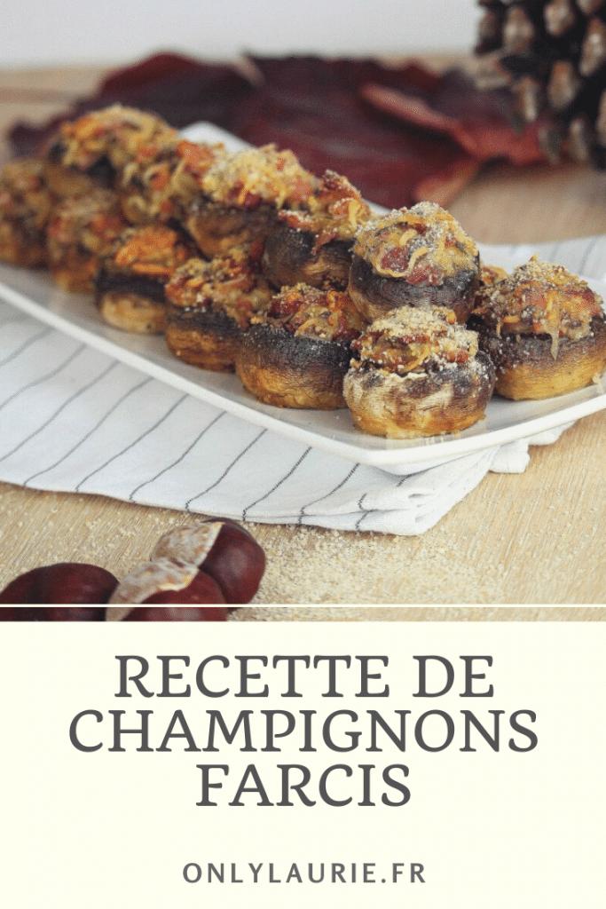 Recette d'automne de champignons farcis, jambon et fromage. Gourmande et facile à faire. Parfaite pour l'apéro ou en plat.