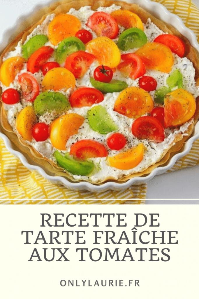 Recette végétarienne de tarte fraîche aux tomates. Une recette healthy et rafraîchissante pour l'été. Facile et rapide à faire.